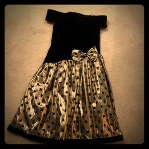 Vintage 1980s Prom Dress Black and Gold